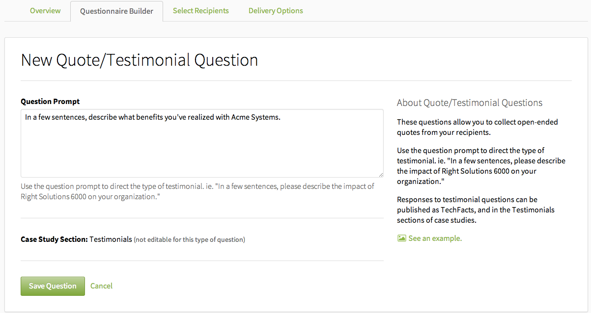 the testimonial question techvalidate support